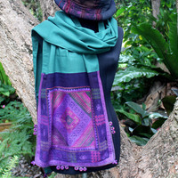 Tai Lue Womens Scarf In Purple And Green Ethnic Woven Cotton Gift