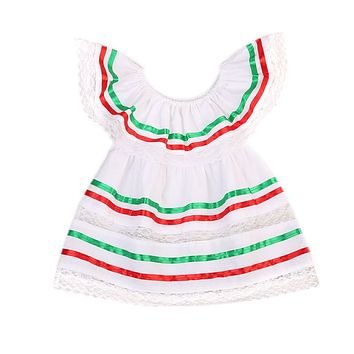 Newborn Baby Girls Colorful Striped Dress Princess Off Shoulder Party Lace Dresses Sundress