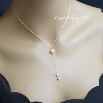 Single Pearl Necklace - Genuine Freshwater Pearl Lariat Necklace - 925 Sterling silver Y Chain Necklace - 14k Gold  Real Pearl Jewelry