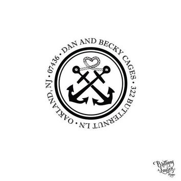 Nautical Seaside Personalized Custom Return Address Rubber Stamp or Self Inking - Anchored In Love - Heart Rope Knot