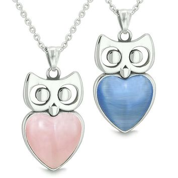 Amulets Owl Cute Hearts Love Couples or Best Friends Set Pink and Star Blue Cat's Eye Necklaces