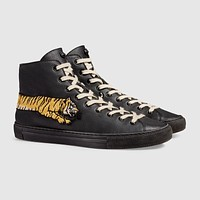 GUCCI Tiger Embroidered high-top Leather Sneaker