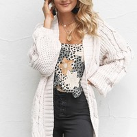 Keep Breathing Oatmeal Balloon Sleeve Knit Cardigan