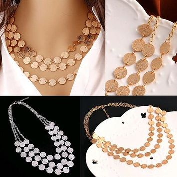 Women Fashion Boho Multilayer Matte Circle Coin Disc Charm Choker Bib Necklace