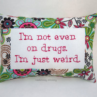 Funny Cross Stitch Pillow, Pink And Green Pillow, Weird Quote