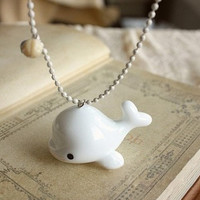 Cute White Whale Long Necklace