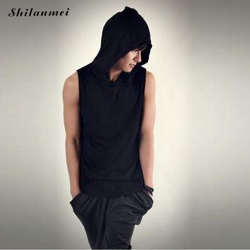 2017 Mens Solid Sleeveless Hoodies Sweatshirt Male Tracksuit Casual Outwear Top Pullovers Active Sweat Shirt Cotton