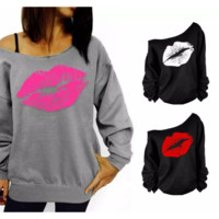 Long Sleeve Lips Offset Print Sweatshirt