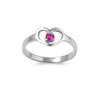 Sterling Silver July Round Simulated Ruby Ring