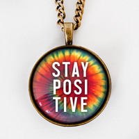 Stay Positive Pendant - Positive Vibes Necklace - Glass Tile Pendant - Spiritual Yoga Bronze