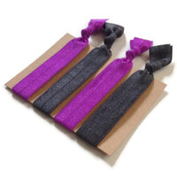 Elastic Hair Ties Royal Purple and Dark Grey No Crease Yoga Hair Bands