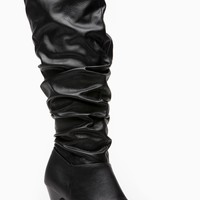 Bamboo Valencia Textured Slouchy Knee High Black Boots @ Cicihot Boots Catalog:women's winter boots,leather thigh high boots,black platform knee high boots,over the knee boots,Go Go boots,cowgirl boots,gladiator boots,womens dress boots,skirt boots.