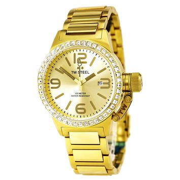 TW Steel TW309 Women's Canteen Gold Tone Dial Yellow Gold Steel Swarovski Crystal Watch
