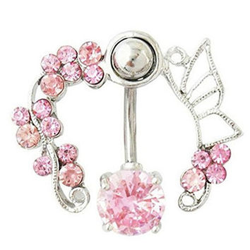 Horse Shoe of Pink Crystal Flowers and Butterfly Wings on a Belly Ring