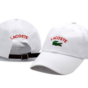 White LACOSTE Embroidered Unisex Baseball Golf Cap