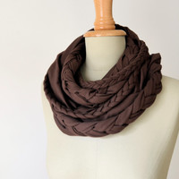 braided loop jersey in chocolate brown
