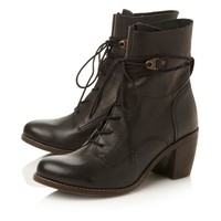 Steve Madden Brown Rambow Heeled Calf Lace Up Boots