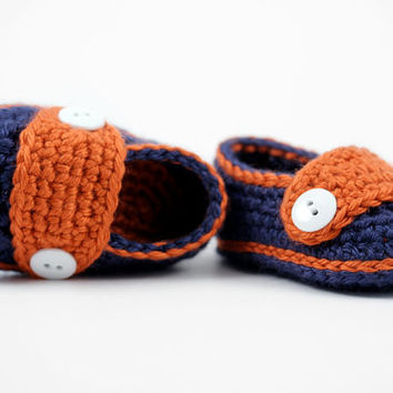 Little Man's Button Loafers // Crochet Baby Boy Shoes // Navy Blue and Orange // 3 to 6 Months // Detroit Tigers Baby Shoes