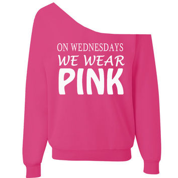 On Wednesday We Wear Pink - Off Shoulder over sized wide neck slouchy sweatshirt baggy sweatshirt xs-2x design is white
