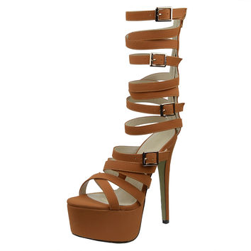 Womens Platform Sandals Gladiator Strappy Buckle High Heel Shoes Tan SZ