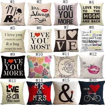 (Size1=#1)1Pc Mr. Right and Mrs. Always Right Couple And Other Love Art Print 18x18'' Square Cotton Linen Pillow Case Sofa Cushi