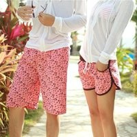 MP Red Leopard Print Couple Beach Shorts 042220 KDP 0705