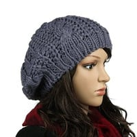 QMY® Slouchy Beanie Winter Lady Women Baggy Beret Chunky Knit Knitted Braided Beanie Hat Ski Cap (Dark Gray)