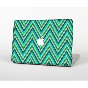 "The Vibrant Green Sharp Chevron Pattern Skin Set for the Apple MacBook Pro 13"" with Retina Display"