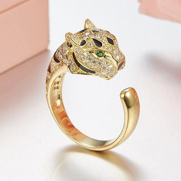 8DESS Cartier Woman Men Fashion Leopard Diamonds Plated Ring