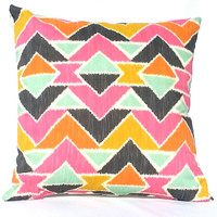 Colorful Bohemian Aztec Print Throw Pillow, 14x14, Dorm Décor – Pillow Insert Included