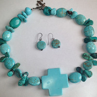 Turquoise Necklace with a Turquoise Cross and matching Sterling Silver Earrings