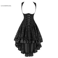 Charmian Women's Steampunk Gothic Vintage Corset with High Low Skirt Underbust Corset and Skirt Set Sexy Corsets and Bustiers