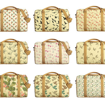 Water Color Tropical Printed Oversized Canvas Duffle Luggage Travel Bag WAS_42