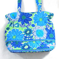 VERA BRADLEY | Blue and Lime Print Tote