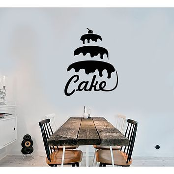 Vinyl Wall Decal Cake Word Logo Bakery Confectionary Sweets Stickers (3721ig)