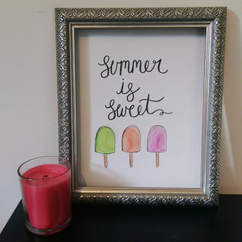 Summer is Sweet Wall Art Watercolor Print