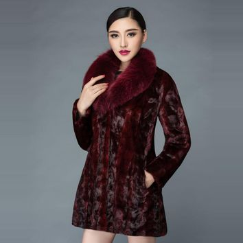 2017 winter new Korean version of the mink fur coat lady in the long section of the fox fur collar mink coat