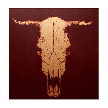 Cow Skull Painting Trophy Horns Faux Taxidermy 16x16 Street Art Graffiti on Canvas Modern Art Spray Paint Mixed Media Metallic Nature Study