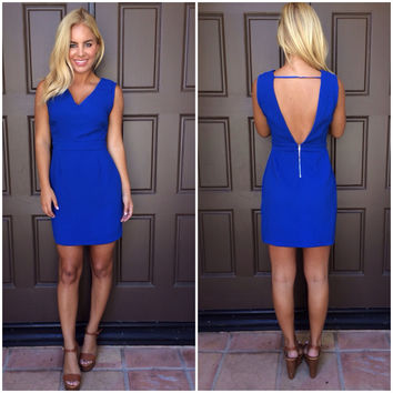 Walk Tall V-Back Dress - ROYAL BLUE