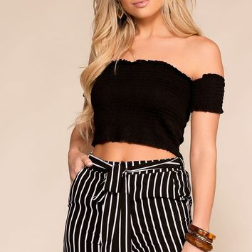 Cindy Black Off The Shoulder Crop Top