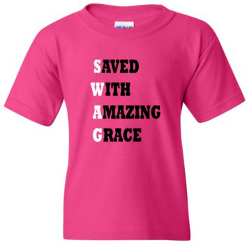 "TurnTo Designs - ""Save With Amazing Grace"" Vinyl Heliconia T-Shirt"