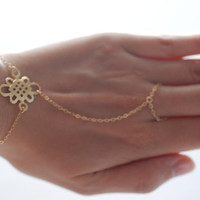 Gold Hand Chain Ring, 14kt gold Chain and 22k gold Pendant,Hand Chain Ring Bracelet,Finger Ring Bracelet,Slave bracelet,hand chain bracelet,