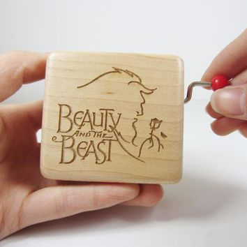 Handmade Smilelife Wood Beauty and the Beast music box cool brand gifts for birthday wedding Christmas new year free shipping