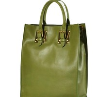 Green Leather Buckle Tote with Gold Plated Hardware by Sophie Hulme
