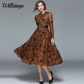 Willstage Brown Lace Dress Floral Printed Jacquard Dresses Long Sleeve High quality Mid dress with Sashes 2018 Spring Vestidos