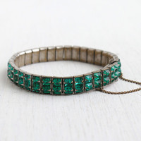 Antique Art Deco Emerald Green Stone Bracelet - 1930s Silver Tone Glass Faceted Jewelry / Formal Facets