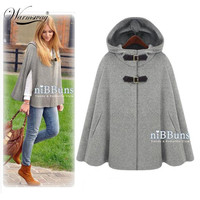 Gossip Girl Super Individual Temperament Woolen Cape Cloak Autumn Winter Clothing For Large Women Poncho Trench Coat