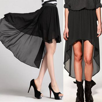 Long Skirt Double Layer Chiffon Pleated Maxi Elastic Waist Skirts