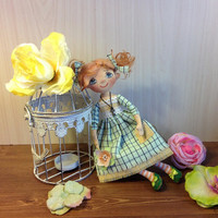 Art doll Cloth Textile doll Collecting Stuff doll Fabric Soft doll Rag ooak artist doll handcrafted cotton doll in mint dress
