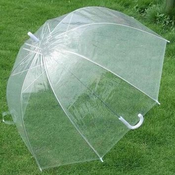 DCCKO03T Plastic EVA Transparent Leaves Cage Sunny Umbrella Rain Umbrella Parasol Women Semi-automatic Umbrellas Clear Paraguas